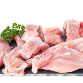Hill rabbit half cut into parts. Weight 0, 60/0, approximately 75 kg. vacuum packaging.